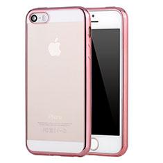 Cover Silicone Trasparente Ultra Sottile Morbida H03 per Apple iPhone 5S Rosa