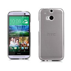 Cover Silicone Trasparente Ultra Sottile Morbida per HTC One M8 Grigio