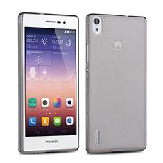 Cover Silicone Trasparente Ultra Sottile Morbida per Huawei P7 Dual SIM Grigio