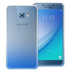 Cover Silicone Trasparente Ultra Sottile Morbida Sfumato per Samsung Galaxy C5 Pro C5010 Blu