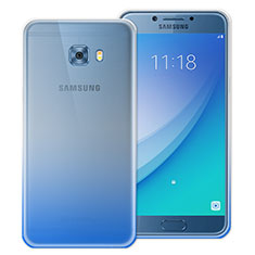 Cover Silicone Trasparente Ultra Sottile Morbida Sfumato per Samsung Galaxy C7 Pro C7010 Blu