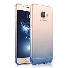 Cover Silicone Trasparente Ultra Sottile Morbida Sfumato per Samsung Galaxy C7 SM-C7000 Blu