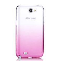 Cover Silicone Trasparente Ultra Sottile Morbida Sfumato per Samsung Galaxy Note 2 N7100 N7105 Rosa