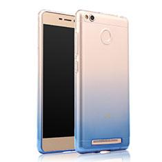 Cover Silicone Trasparente Ultra Sottile Morbida Sfumato per Xiaomi Redmi 3S Prime Blu