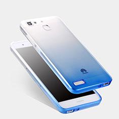 Cover Silicone Trasparente Ultra Sottile Morbida Sfumato Q01 per Huawei P8 Lite Smart Blu