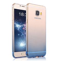 Cover Silicone Trasparente Ultra Sottile Morbida Sfumato T04 per Samsung Galaxy C7 Pro C7010 Blu