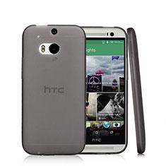 Cover Silicone Trasparente Ultra Sottile Morbida T01 per HTC One M8 Nero