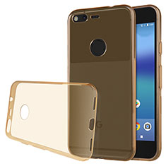 Cover Silicone Trasparente Ultra Sottile Morbida T02 per Google Pixel Oro