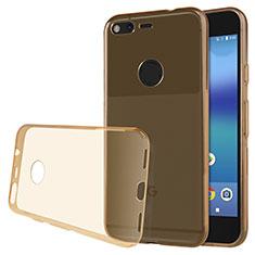 Cover Silicone Trasparente Ultra Sottile Morbida T02 per Google Pixel XL Oro