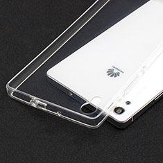 Cover Silicone Trasparente Ultra Sottile Morbida T02 per Huawei Ascend P7 Chiaro