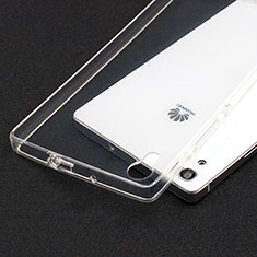 Cover Silicone Trasparente Ultra Sottile Morbida T02 per Huawei P7 Dual SIM Chiaro