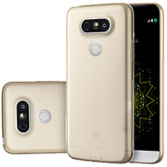 Cover Silicone Trasparente Ultra Sottile Morbida T02 per LG G5 Oro