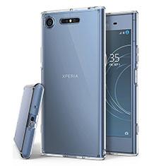 Cover Silicone Trasparente Ultra Sottile Morbida T02 per Sony Xperia XZ1 Chiaro