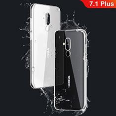Cover Silicone Trasparente Ultra Sottile Morbida T03 per Nokia 7.1 Plus Chiaro