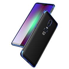 Cover Silicone Trasparente Ultra Sottile Morbida T03 per OnePlus 6 Blu
