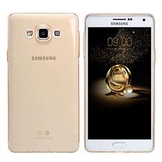 Cover Silicone Trasparente Ultra Sottile Morbida T03 per Samsung Galaxy A7 Duos SM-A700F A700FD Oro