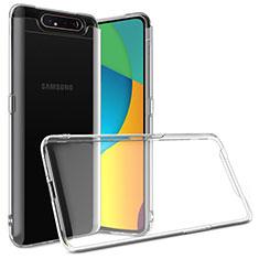 Cover Silicone Trasparente Ultra Sottile Morbida T03 per Samsung Galaxy A80 Chiaro