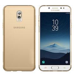 Cover Silicone Trasparente Ultra Sottile Morbida T03 per Samsung Galaxy J7 Plus Oro