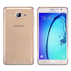 Cover Silicone Trasparente Ultra Sottile Morbida T03 per Samsung Galaxy On7 G600FY Oro
