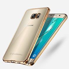 Cover Silicone Trasparente Ultra Sottile Morbida T03 per Samsung Galaxy S6 Edge+ Plus SM-G928F Oro