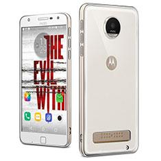 Cover Silicone Trasparente Ultra Sottile Morbida T04 per Motorola Moto Z Play Chiaro