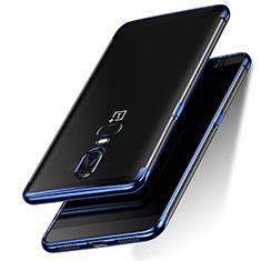 Cover Silicone Trasparente Ultra Sottile Morbida T05 per OnePlus 6 Blu