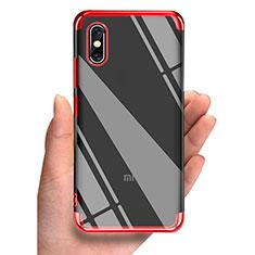 Cover Silicone Trasparente Ultra Sottile Morbida T05 per Xiaomi Mi 8 Screen Fingerprint Edition Rosso
