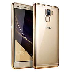 Cover Silicone Trasparente Ultra Sottile Morbida T06 per Huawei Honor 7 Dual SIM Oro