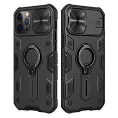 Cover Silicone Ultra Sottile Morbida con Magnetico Anello Supporto per Apple iPhone 12 Pro Max Nero