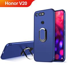 Cover Silicone Ultra Sottile Morbida con Magnetico Anello Supporto per Huawei Honor View 20 Blu