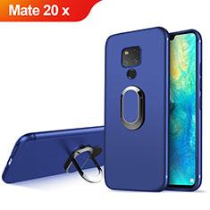 Cover Silicone Ultra Sottile Morbida con Magnetico Anello Supporto per Huawei Mate 20 X Blu