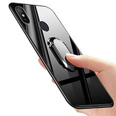 Cover Silicone Ultra Sottile Morbida Specchio con Anello Supporto per Xiaomi Mi 6X Nero