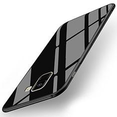 Cover Silicone Ultra Sottile Morbida Specchio per Samsung Galaxy A8+ A8 Plus (2018) Duos A730F Nero