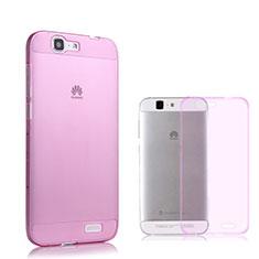 Cover TPU Trasparente Ultra Sottile Morbida per Huawei Ascend G7 Rosa