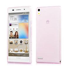 Cover TPU Trasparente Ultra Sottile Morbida per Huawei Ascend P6 Rosa