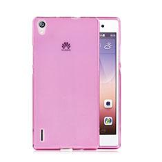 Cover TPU Trasparente Ultra Sottile Morbida per Huawei Ascend P7 Rosa