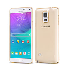 Cover TPU Trasparente Ultra Sottile Morbida per Samsung Galaxy Note 4 Duos N9100 Dual SIM Oro