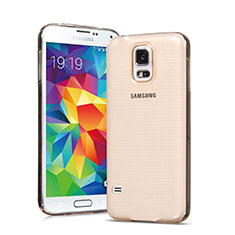 Cover TPU Trasparente Ultra Sottile Morbida per Samsung Galaxy S5 Duos Plus Oro