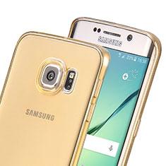 Cover TPU Trasparente Ultra Sottile Morbida per Samsung Galaxy S6 Edge SM-G925 Oro