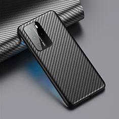 Custodia Fibra di Carbonio Lusso Morbida Spigato Cover C01 per Huawei P40 Pro Nero