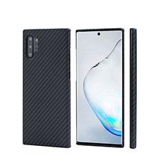 Custodia Fibra di Carbonio Lusso Morbida Spigato Cover C01 per Samsung Galaxy Note 10 Plus Nero