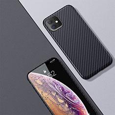 Custodia Fibra di Carbonio Lusso Morbida Spigato Cover per Apple iPhone 11 Nero