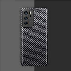 Custodia Fibra di Carbonio Lusso Morbida Spigato Cover per Huawei P40 Nero