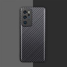 Custodia Fibra di Carbonio Lusso Morbida Spigato Cover per Huawei P40 Pro Nero