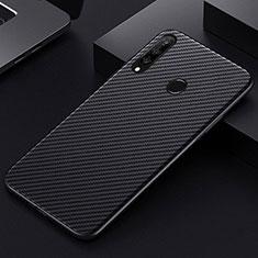 Custodia Fibra di Carbonio Lusso Morbida Spigato Cover T01 per Huawei Honor 20 Lite Nero