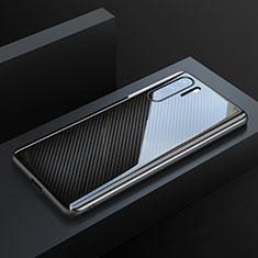 Custodia Fibra di Carbonio Lusso Morbida Spigato Cover T01 per Huawei P30 Pro Nero