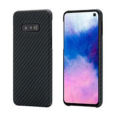 Custodia Fibra di Carbonio Lusso Morbida Spigato Cover T01 per Samsung Galaxy S10e Nero
