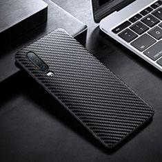 Custodia Fibra di Carbonio Lusso Morbida Spigato Cover T02 per Huawei P30 Nero