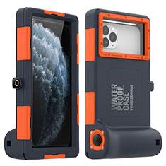 Custodia Impermeabile Silicone Cover e Plastica Opaca Waterproof Cover 360 Gradi per Apple iPhone SE (2020) Arancione