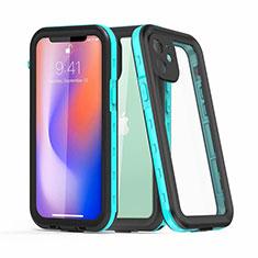 Custodia Impermeabile Silicone e Plastica Opaca Waterproof Cover 360 Gradi per Apple iPhone 12 Mini Ciano